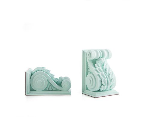 Classical Acanthus Corbel Bookends Lucite Green edition by Atelier Article, Green