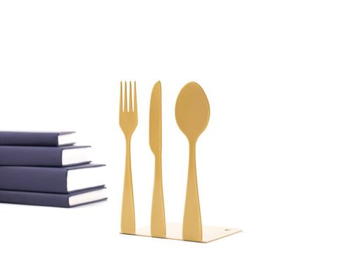 Metal Kitchen bookends «Silverware» Golden edition by Atelier Article, Golden