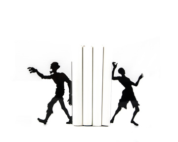 Metal bookends «Reading Zombies» by Atelier Article, Black