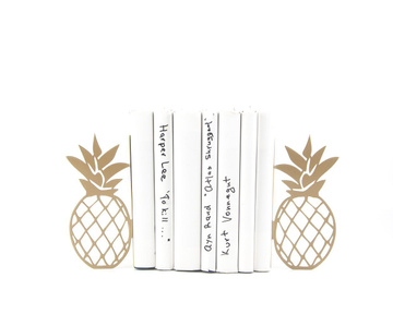 "Metal bookends ""Pineapples"" functional shelf decor by Atelier Article, Golden"