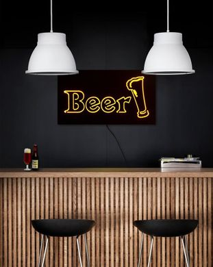 Man cave // Wall Light Neon Sign style BEER LED technology // Wall Art // by Atelier Article, Yellow