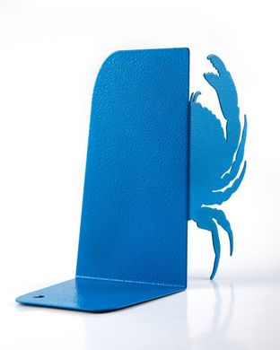 "Sea Bookends ""Crab light blue "" unique, stylish and useful decor book holders, Blue"