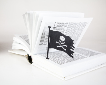 Unique bookmark for pirates fans - Jolly Roger Flag, Black
