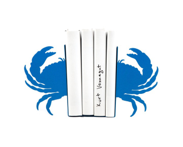 Metal Bookends «Crab» light blue edition by Atelier Article, Blue