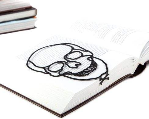Horror metal book bookmark // Skull // Free shipping worldwide, Black