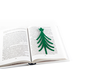 "Metal book bookmark ""Christmas Tree in Your Book"" by Atelier Article, Green"