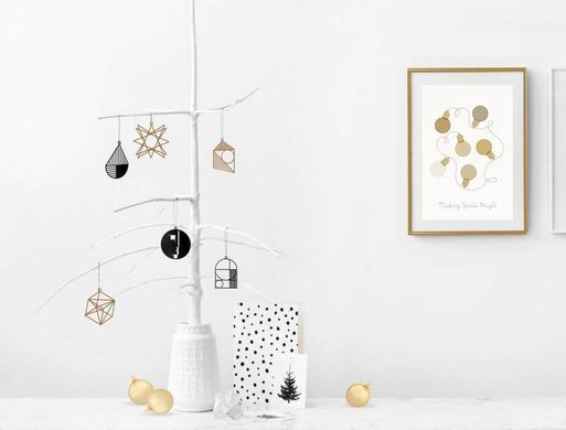 Minimalistic Bauhaus Geometry inspired Xmas ornaments a set of 6 // ready to give packaging // FREE SHIPPING