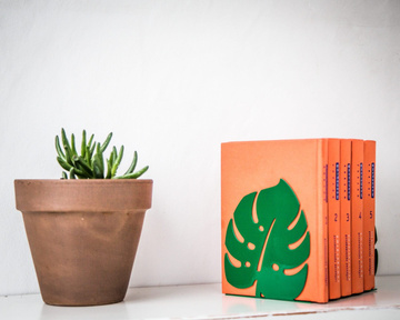 "Bookends ""Monstera""  Botanica series of bookends by Atelier Article, Green"