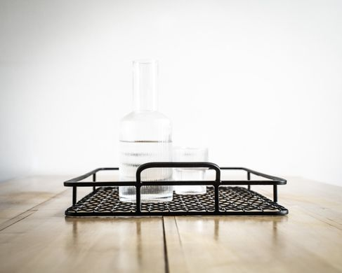 Black metal serving tray // minimalist style // handmade by Atelier Article, Black